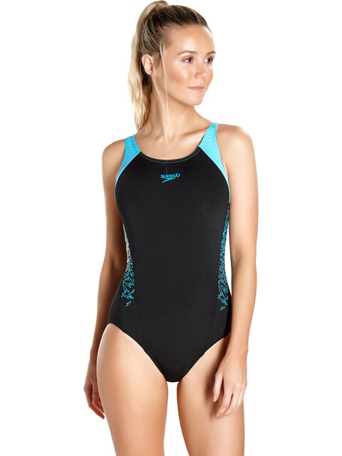 speedo Boom Splice Muscleback Swimsuit Women Black/Turquoise